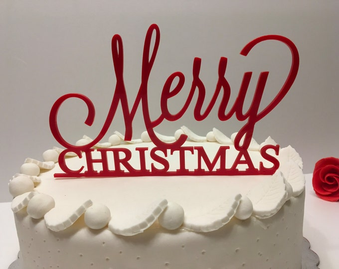 Merry Christmas Personalized Mirrored Acrylic Cake Topper Red Christmas Decorations Xmas Centerpieces Custom Cake Topper Christmas Decor