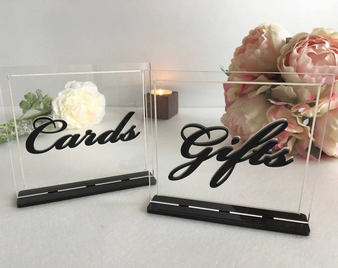 Cards and Gifts Table Sign Personalized Chic Wedding Cards & Gifts Signs Stand Clear Acrylic Reception Elegant Bridal Decor Laser Cut Letter