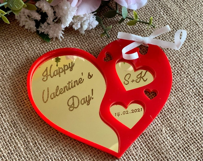 Persoznalized Heart Ornament with Initials & Date Custom Laser Engraved Happy Valentines Day 2021 Handmade Red Gold Acrylic Gift for Couples