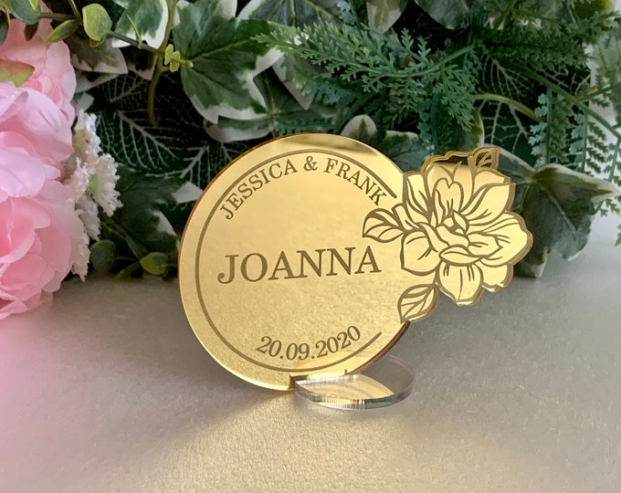 Personalized Acrylic Place Cards Bride & Groom Custom Names and Wedding Date Engraved Guest Names Mirrored Invitations Place Name Settings