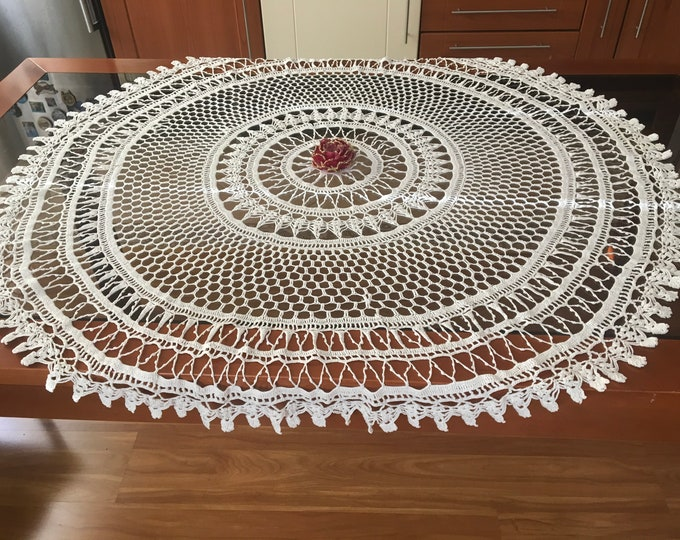 Large White Doily Crochet Round Tablecloth Lace Doilies Handmade Table Topper Decorations Valentine Gift Mothers Day Vintage Centerpiece 47""