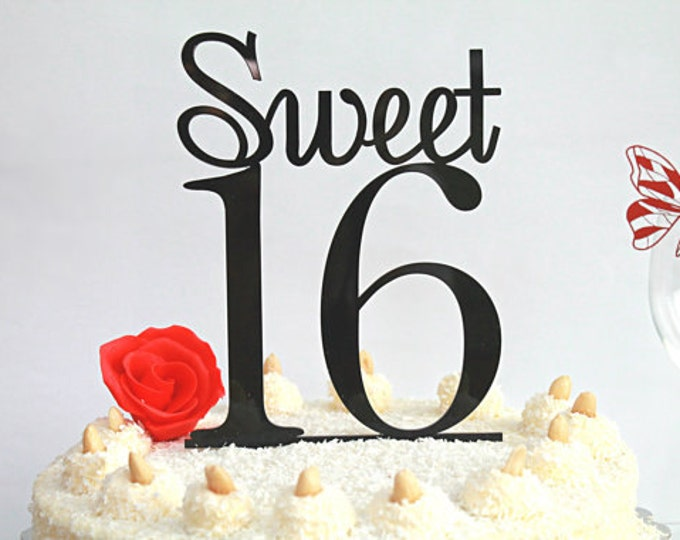 16th Birthday Party Cake Toppers Black Cake Topper 16 Birthday Table Decoration Sweet 16 Happy Sweet Sixteen Party Accessories Customised
