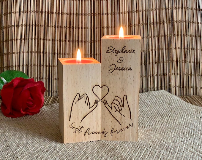 Best Friends Forever Personalized Wooden Candle Holder Custom Names Friendship Wood Gift for Her Love Holding Hands with Heart Birthday Gift