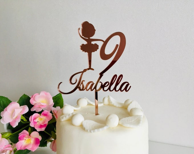 Personalized Any Name Cake Topper for Girls Any Age Custom Ballerina Birthday Party Cake Centerpiece Princess Party Decorations Ballet Decor
