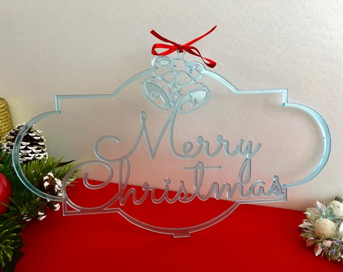 Merry Christmas Sign Jingle Bells Christmas Housewarming Gift Custom Family Name Door Sign Personalized Monogram Xmas sign Hanging ornament