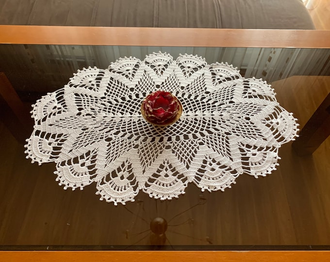 Lace Doily Crochet White Oval Handmade Doily Top Table Decor Runner Topper Cotton Table Centerpiece Vintage Mothers Day, Mom Gift, Grandma