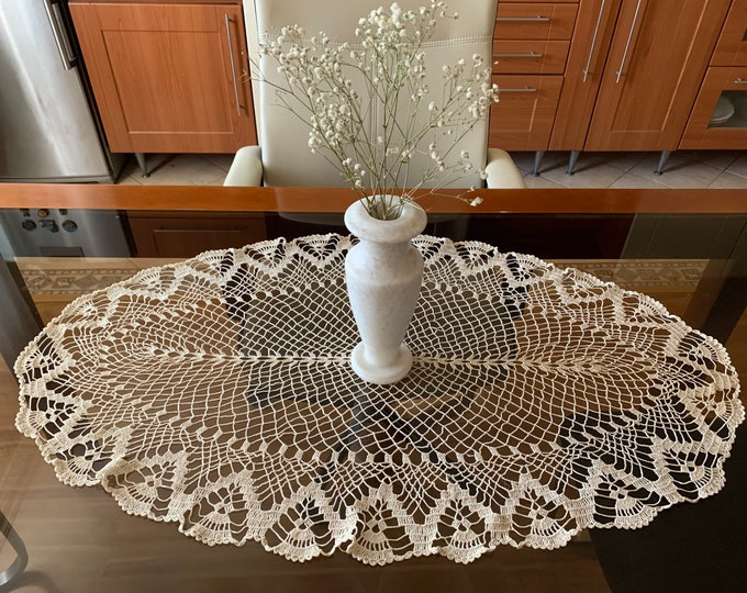 """Large Beige Oval Lace Doily Crocheted Delicate Tablecloth Handmade Doilies Hand Table Centerpiece Home Decorations Gift for Mom Grandma 35"""""""