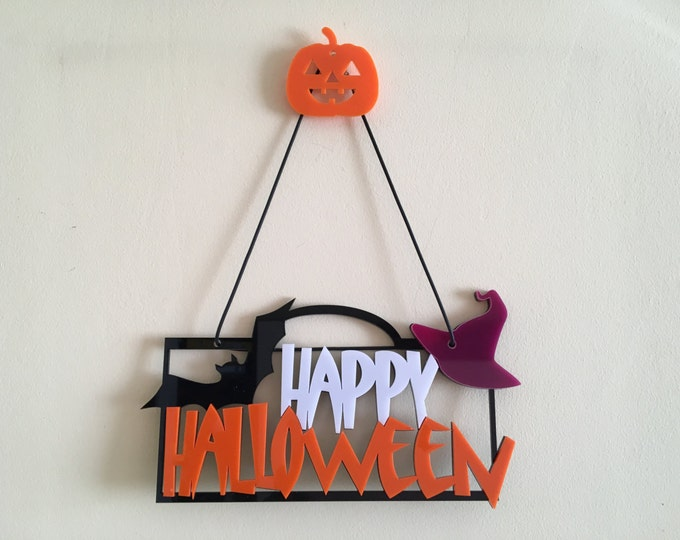 Happy Halloween Door sign Halloween hat Halloween party favors Halloween gift Halloween party Hanging ornament Black bats Halloween signs