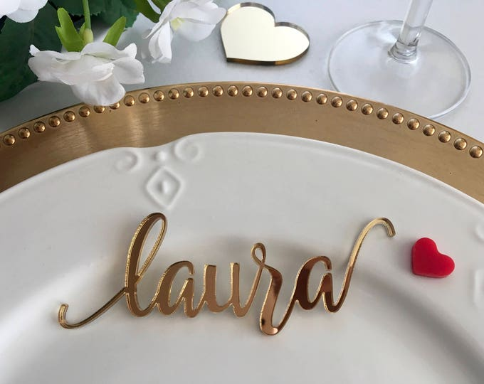 Gold Wedding Place Cards Personalized Acrylic Laser Cut Names Place name settings Guest name tags Wedding Signs Calligraphy Modern New Font