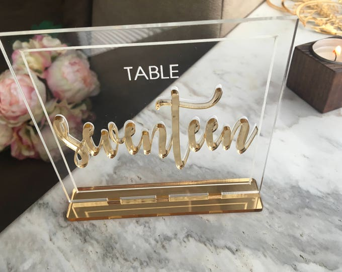 Wedding Table Numbers Clear Acrylic Wedding Signs Laser Cut Letters Table Centerpieces 3D Freestanding Number Holder Reception Decorations