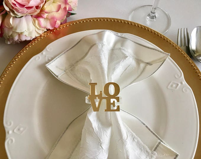 Love napkin ring holders Personalized wedding napkin rings Valentines day table decor Love sign Custom gold napkin rings Bridal shower decor