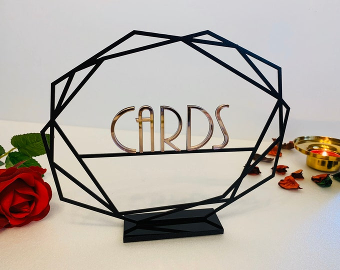 Cards Table Sign, Clear or Black Base Custom Metal Wedding Sign Freestanding Personalized Laser Cut Metal Sign Reception Decor Table Numbers
