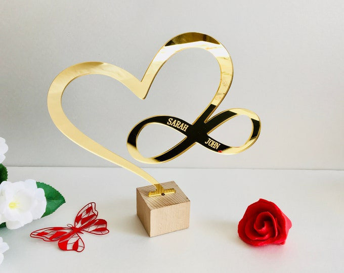 Personalized Heart Infinity Sign Love Symbol Heart Shape Stand Wedding Gift Couple Names Valentines Day Decor Custom Sign Mr Mrs Cake Topper