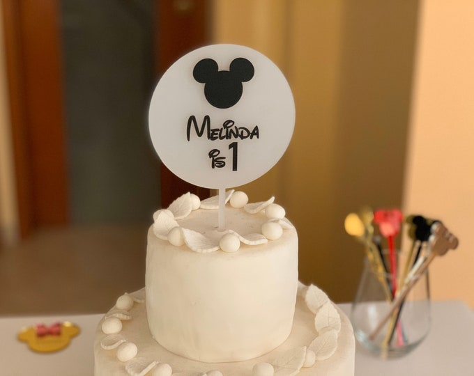 Mickey Mouse Cake Topper Personalized Name Age Frosted White Custom Disney Party Birthday Centerpieces Party Decorations Minnie Mouse Decor