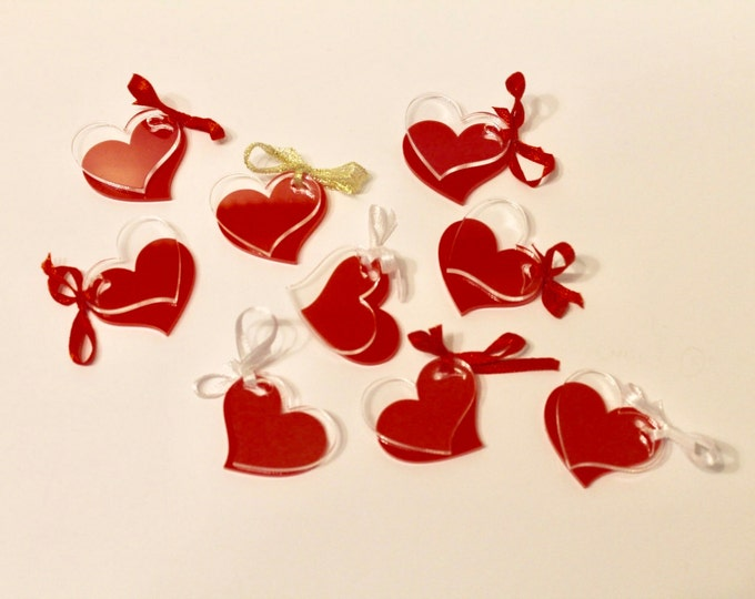 Mini Hearts for Crafts Laser Cut Mirror Charms Party Decor Confetti Clear Acrylic Cabs Valentines Day Arts Garland Decorations Love Wedding
