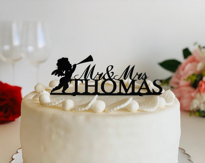 Personalized Mr and Mrs Cake Topper Last Name Wedding Cake Decorations Angel Playing Trumpet Cherub Angel Silhouette Angel Blowing Horn
