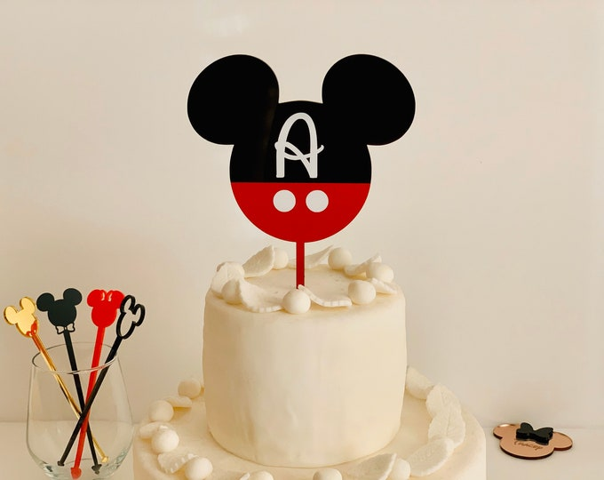 Personalized Mickey Mouse Cupcake Topper Disney Letter Custom Minnie Mouse Head Monogram Initial Birthday Party Decor Mickey Cake Topper