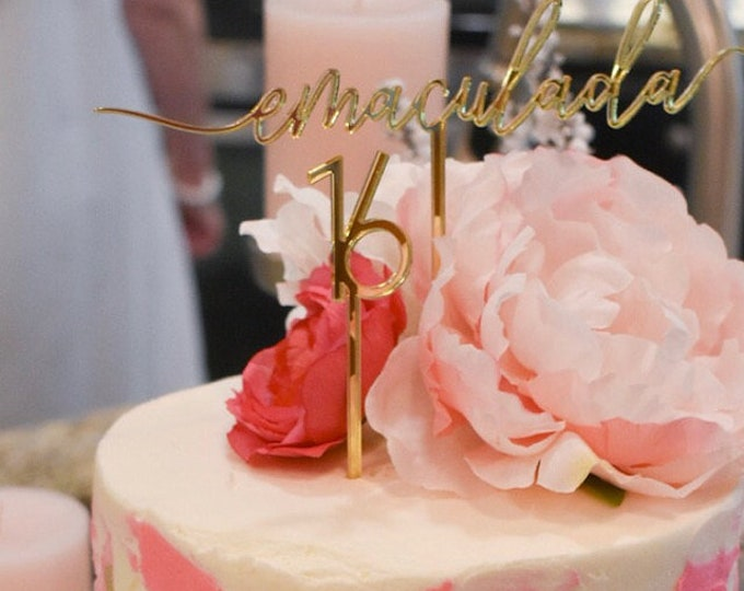Personalized Birthday Cake Topper Custom Name Any Age Table Number Centerpiece Stick Calligraphy Happy Birthday Party Cupcake Decorations