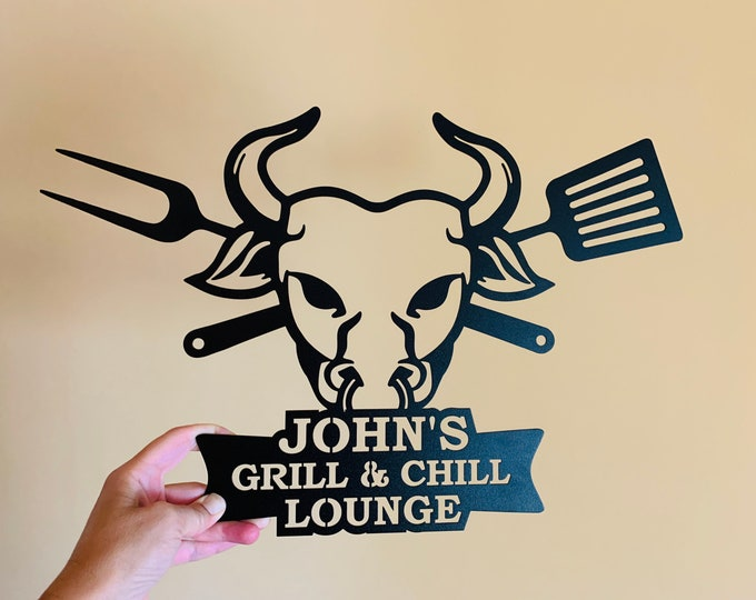 Personalized Metal BBQ Sign for Porch Grill & Chill Lounge Custom Name Sign Barbecue Outdoor Dad's BBQ Wall Art Sign Grill Father Bull Head