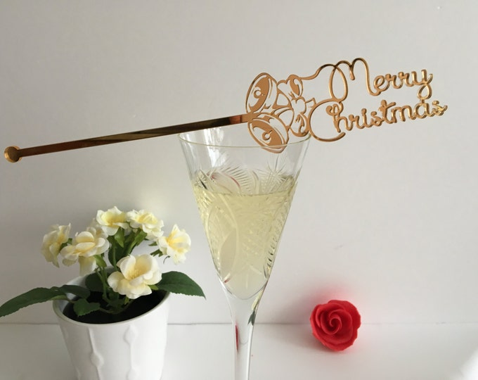 Merry Christmas Swizzle stir sticks Custom Christmas ornament Jingle bells Cocktail xmas centerpiece Christmas gift Champagne drink stirrers