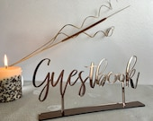 Guestbook Table Sign Calligraphy Wedding Acrylic Free Standing Laser Cut Reception Table Numbers Gold Wood Silver Mirror Bronze Event Party