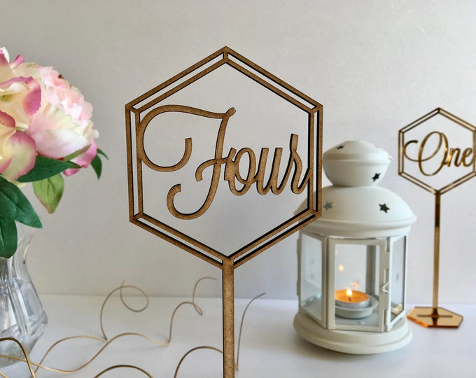 Wooden Wedding Table Numbers Stand Freestanding Hexagon Geometric Laser Cut Table Number Signs Table numbers with base Rustic wedding signs
