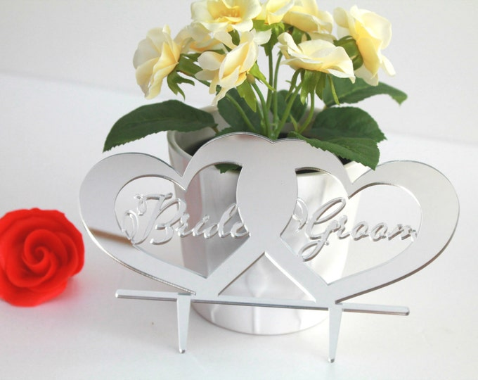 """Personalized Custom Bride and Groom Cake Topper Mr & Mrs Wedding Cake decorations Gold Wedding Cake Toppers Custom Wedding Cake Topper, 7.5"""""""