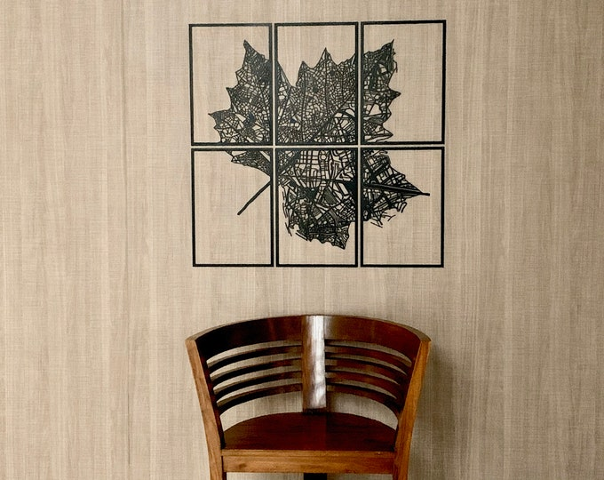 Leaf City Map Black Metal Wall Art Decor 6 Pieces Hanging Sign Housewarming Anniversary New Home Gift Living Room Office Decor Custom Design