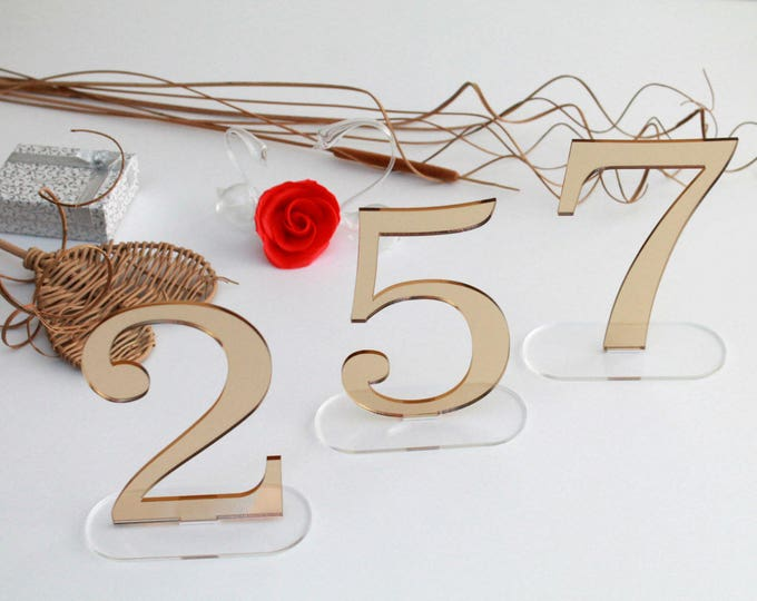 "Wedding table numbers Mirror acrylic numbers for wedding signs Gold number stand Table centerpiece Wedding party Wedding reception, 6"" tall"