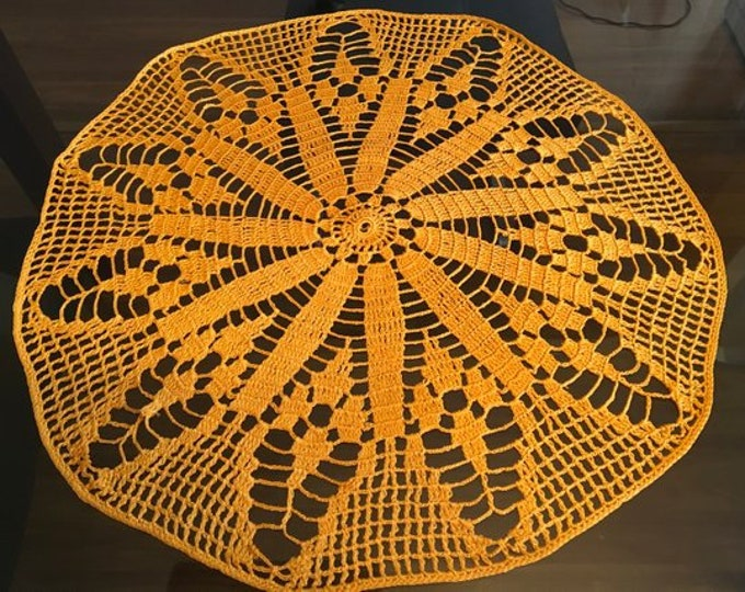 Ochre Round Doilies Doily Crochet Handmade Lace Table Topper Tablecloth Wedding Vintage Decor Orange Cotton Centerpiece Crocheted Gift Mom
