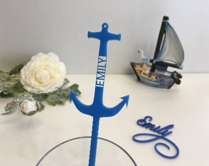 Personalized Anchor Nautical Party Decorations Beach Wedding Anchor Decoration Blue Anchor Theme Cocktail Name Drink Stirrers Swizzle Sticks