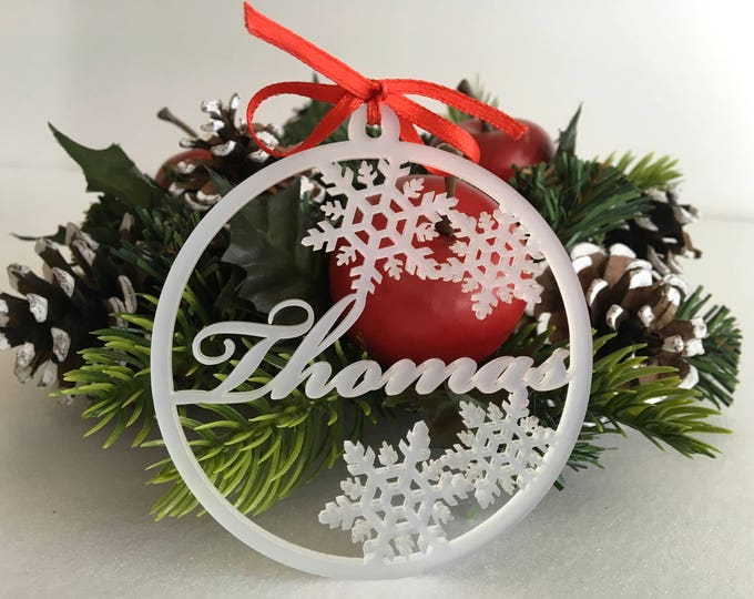 Personalized Christmas Baubles Frosted Acrylic Ornaments Xmas Tree Decorations Holiday Custom Name Ornaments Snowflakes Custom Family Gift