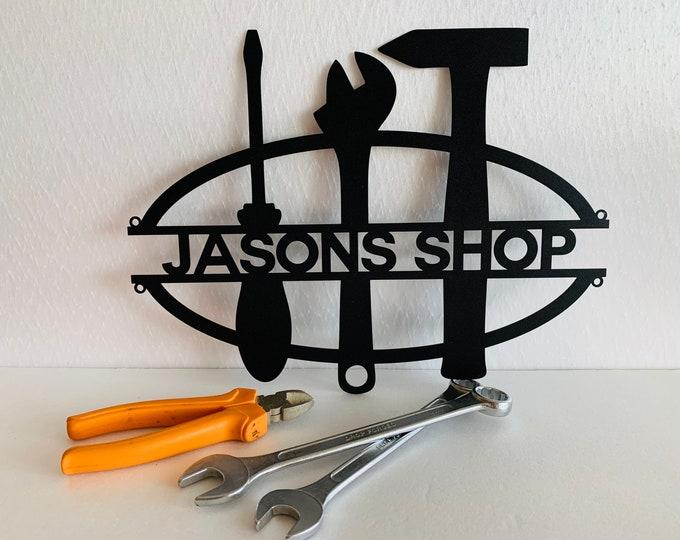 Personalized Metal Garage Sign Custom Name Work Shop Metal Wall Art Housewarming Home House Decor Man Cave Dad's Grandpas Gift for Mechanic