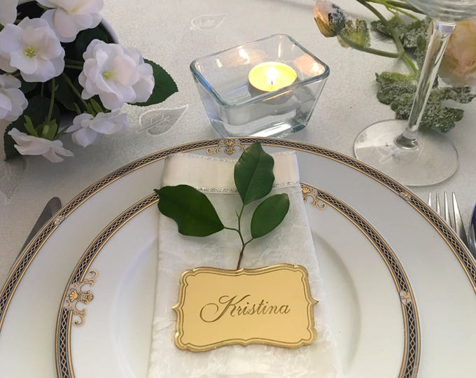Personalized Wedding Dinner Party Names Laser Engraved Table Place Cards Settings Mirrored Acrylic Tag Custom Name Plaque Personalized Favor