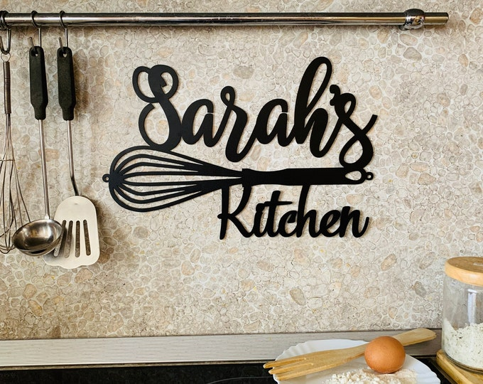 Custom Kitchen Name Sign Personalized Metal Indoor Sign for Kitchen Wall Art Decor Farmhouse Cooking lover Mom's Gift for Grandma Chef Name