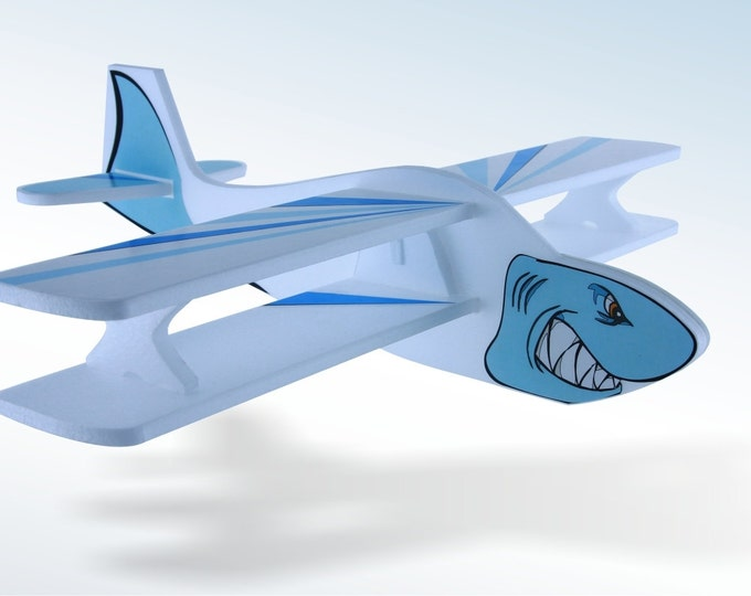 Airplane Toy Flying jets Shark Blue sea Model foam plane Gift for kids Party Decorations Birthday Gift for a boy Ocean decor Boys room decor