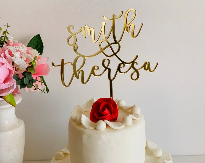 Personalized Wedding Cake Toppers First Names with Heart Bride and Groom Couple Mr and Mrs Custom Cake Topper Engagement Wedding Decorations