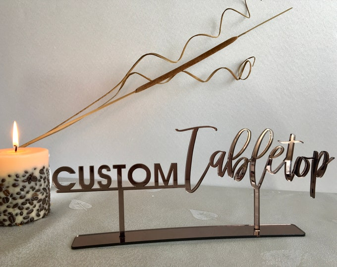 Tabletop Sign Bronze Mirror Personalized Wedding Custom Name Calligraphy Hashtag Laser Cut Acrylic Freestanding Reception Party Decorations