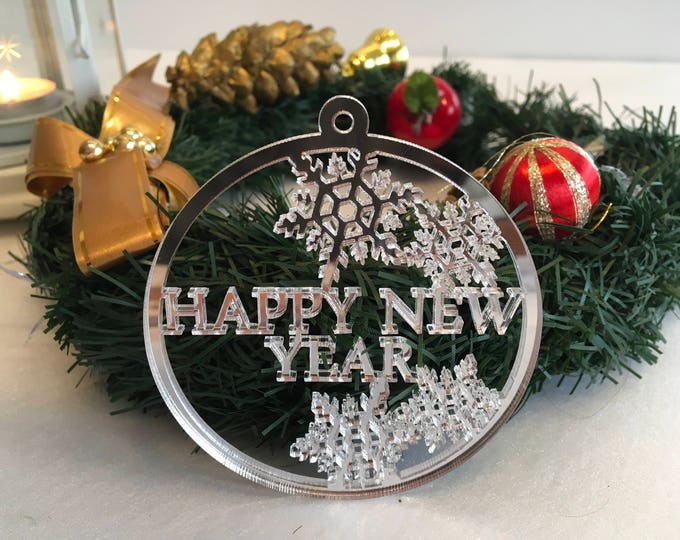 Personalized Holiday Baubles Happy New Year Merry Christmas Custom Xmas name ornament Housewarming Holiday Christmas gift Stainless steel