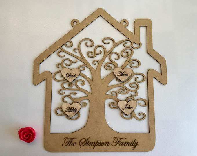 Personalized Wood Family Tree Custom Family Names Present for Mom and Dad Parents Anniversary Wooden Keepsake Wall Hanging Sign Grandma Gift