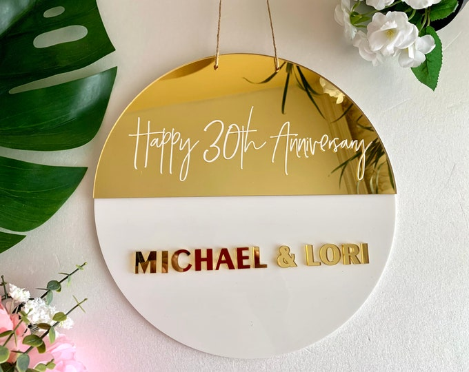 Personalized Anniversary Round Wedding Plaque Acrylic Hanging Signs Custom Names Party Decorations Handmade Backdrop Photo Gift For Couples