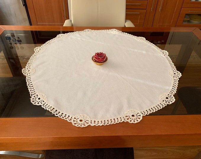 Round Natural Linen Lace Doily Table Runner Crochet Handmade Topper Cotton Tablecloth White Centerpiece Vintage Mothers Day Gift for Mom