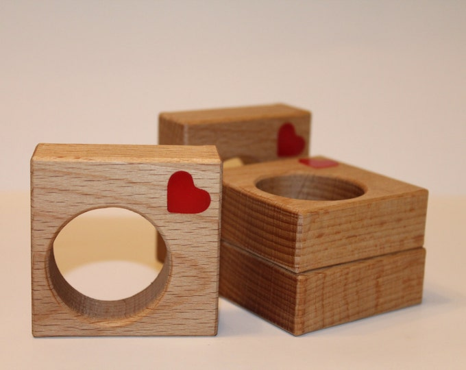 Geometric napkin rings Heart decorations Centerpiece Oak Laser cut red hearts Wood holders Mothers day decoration Wooden Square napkin rings