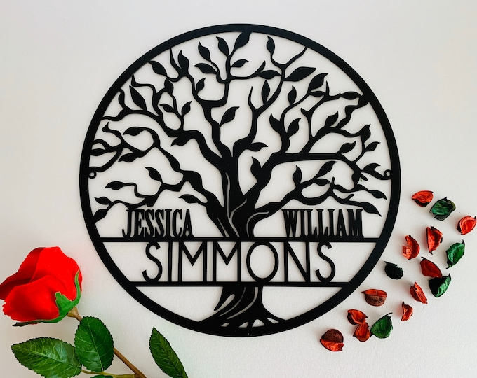 Personalized Tree of Life Metal Sign Custom Family Last Name Wedding Gift Front Door Hanger Wreath Wall Hanging Decor Monogram Est Date