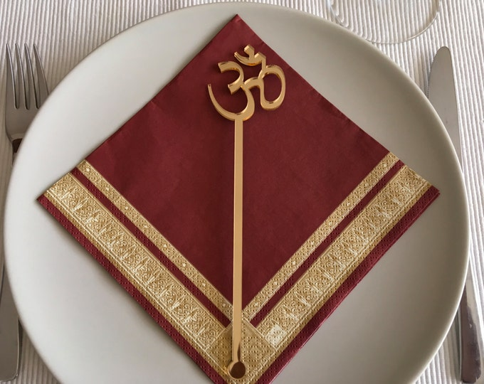 Om Aum Yoga Namaste, Yoga symbol, Om Aum symbol, Namaste sign, Namaste sign on sticks, Yoga sign, Yoga gift, Stir Stick, Meditation sign