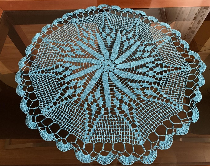 Large Blue Doily Crochet Round Lace Cotton Handmade Doilies Tablecloth Home Table Decorations Gift for Mom Mother's Day, Gift for Grandma
