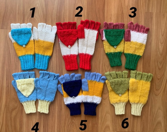 Hand-Knitted Convertible Fingerless Gloves Mittens for Girls Knit Wool Gloves Winter Color Women Hand Warmers Gift for Mom Crochet Glittens