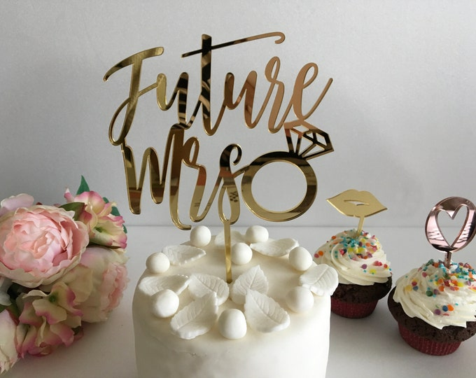 Future Mrs Cake Toppers with Diamond Bride to Be Wedding Cake Decorations Custom Signs Engagement Party Bridal Shower Bachelorette Toppers