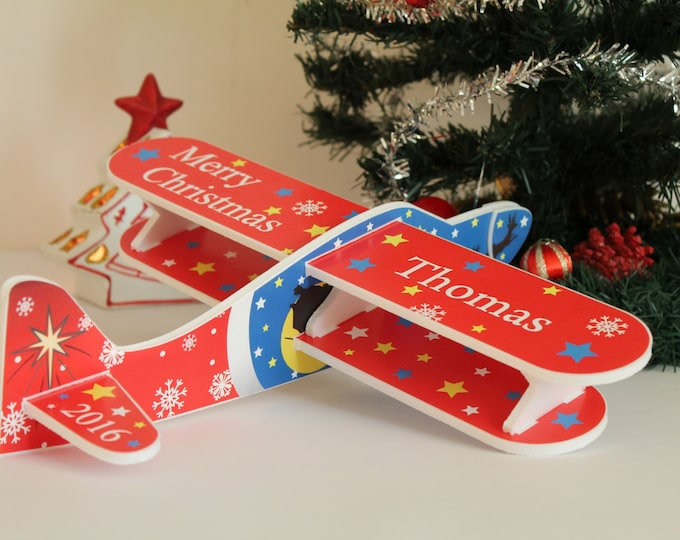 Red airplane Christmas ornament Christmas 2019 First baby's Christmas Kids room decor Personalised plane Christmas tree decor Christmas toys