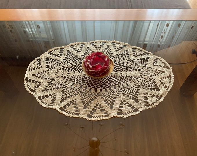 Lace Doily Crochet Small Beige Oval Handmade Coaster Doily Placemat Top Table Runner Topper Cotton Table Centerpiece Mothers Day, Mom Gift